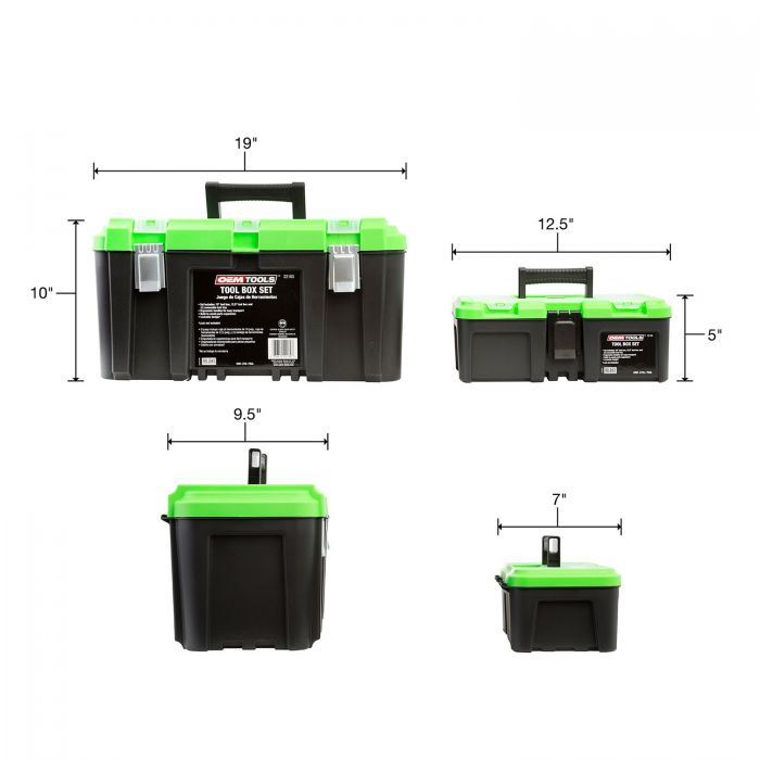 12.5 Tool Box with Removable Tool Tray OEMTOOLS 22180 Tool Box Set Includes 19 Tool Box
